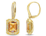 6.20 Carat (ctw) Citrine Dangle Earrings in Sterling Silver with White Topaz