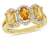 1.35 Carat (ctw) Madeira Citrine Three Stone Ring with Diamonds 1/5 Carat (ctw) in Yellow Plated Sterling SilverGold