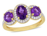 1.60 Carat (ctw) Amethyst Three Stone Ring with Diamonds 1/4 Carat (ctw) in Yellow Plated Sterling Silver