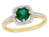 4/5 Carat (ctw) Lab Created Green Emerald Ring in 10K Yellow Gold with Diamonds 1/7 Carat (ctw)