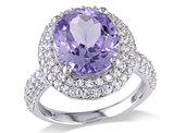 4.00 Carat (ctw) Amethyst Ring with White Sapphires in Sterling Silver