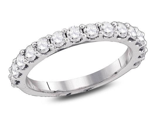 1.00 Carat (ctw H-I, I1-I2) Diamond Wedding Anniversary Band in 14K White Gold