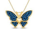 1/6 Carat (ctw I2-I3) Blue Diamond Animal Butterfly Pendant Necklace in 10K Yellow Gold with Chain