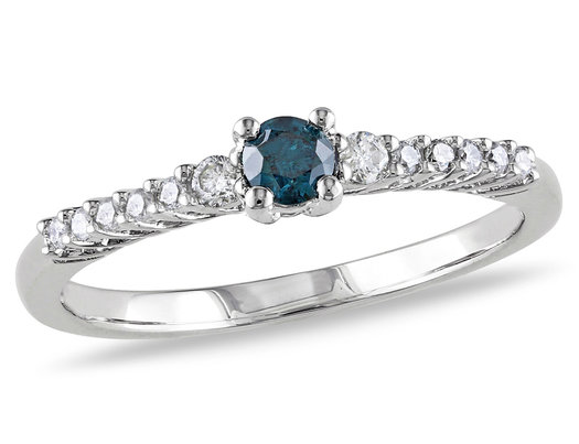 1/3 Carat (ctw) Blue and White Diamond Ring in Sterling Silver