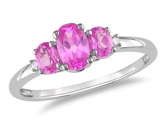1.10 Carat (ctw) Lab Created Pink Sapphire Three Stone Ring in 10K White Gold