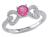3/8 Carat (ctw) Lab Created Pink Sapphire Heart Ring in 10K White Gold