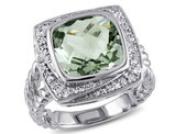 4.00 Carat (ctw) Amethyst Ring with Diamonds 1/4 Carat (ctw) in Sterling Silver
