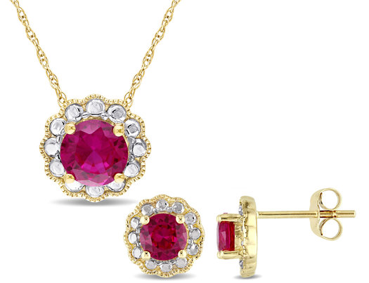 2.50 Carat (ctw) Lab Created Ruby Earrings and Pendant Necklace Set in 10K Yellow Gold