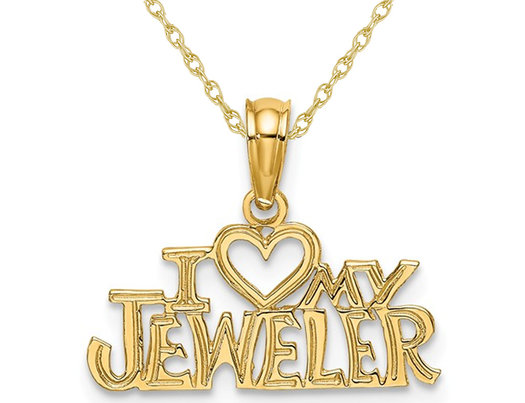 14K Yellow Gold - I Love My Jeweler - Pendant Necklace Charm with Chain