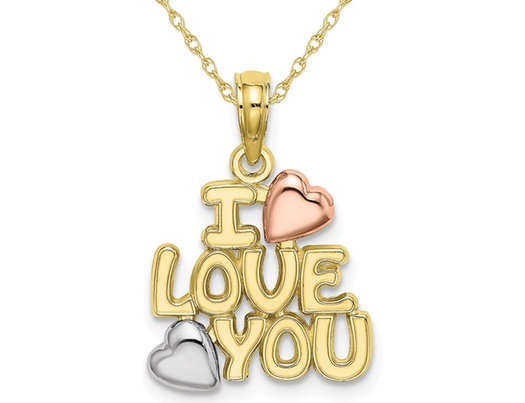 10K Yellow and Rose Gold  - I Love You - Pendant Necklace Charm with Chain