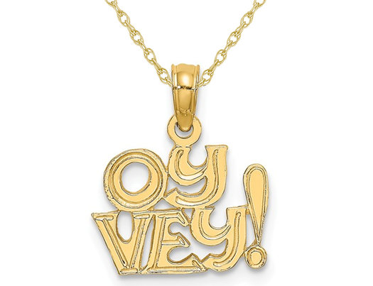 14K Yellow Gold OY VEY Pendant Necklace Charm with Chain