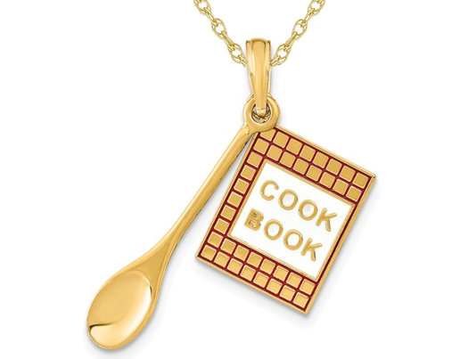 14K Yellow Gold Cook Book  and Spoon Charm Pendant Necklace with Chain