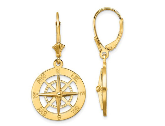 14K Yellow Gold Nautical Compass Leverback Charm Earrings
