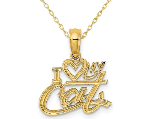 14K Yellow Gold I Heart My Cat Charm Pendant Necklace with Chain