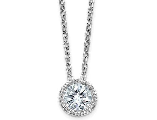 1/2 Carat (ctw) Synthetic Moissanite Bezel Solitaire Pendant Necklace in 14K White Gold (2.00 Carat Diamond Look)