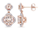 2.34 Carat (ctw) Morganite and Diamond Earrings in 14K Rose Pink Gold