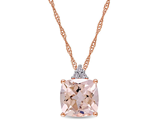 2.00 Carat (ctw) Morganite Pendant Necklace with Accent Diamonds in 14K Rose Pink Gold with Chain