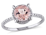 1.15 Carat (ctw) Solitaire Morganite Halo Ring in 10K White Gold
