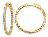 1.95 Carat (ctw VS2-SI1, E-F) Lab Grown Diamond Hoop Earrings in 14K Yellow Gold