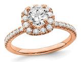 3/4 Carat (ctw G-H-I, SI1-SI2) Lab Grown Diamond Engagement Halo Ring in 14K Rose Pink Gold