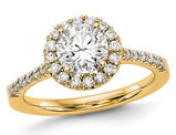 3/4 Carat (ctw G-H-I, SI1-SI2) Lab Grown Diamond Engagement Halo Ring in 14K Yellow Gold