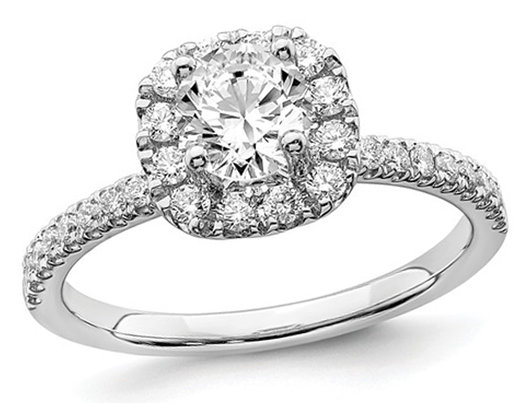 1.00 Carat (ctw G-H-I, SI1-SI2) Lab Grown Diamond Engagement Halo Ring in 14K White Gold