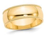 Men's 14K Yellow Gold 8mm Milgrain Wedding Band