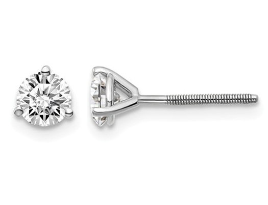 3/4 Carat (ctw VS2-SI1, D-E-F) Lab Grown Diamond Solitaire Stud Earrings in 14K White Gold with Screwbacks