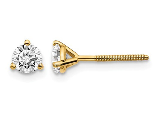 1/2 Carat (ctw VS2-SI1, D-E-F) Lab Grown Diamond Solitaire Stud Earrings in 14K Yellow Gold with Screwbacks