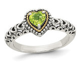 Natural Peridot 5mm Heart Ring in Sterling Silver
