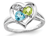 4/5 Carat (ctw) Natural Blue Topaz and Peridot Heart Ring in Sterling Silver