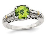 Natural Cushion Cut Peridot 1.50 Carat (ctw) Ring in Sterling Silver with 14K Gold Accent