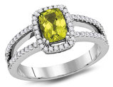 9/10 Carat (ctw) Natural Peridot Ring in 14K White Gold with Diamonds 1/3 Carat (ctw G-H, SI2-I1)