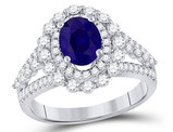 1.40 Carat (ctw) Natural Blue Sapphire Engagement Ring in 14K White Gold with Diamonds 9/10 Carat (ctw H-I, I1-I2)