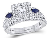 4/5 Carat (ctw H-I, I1-I2) Princess Diamond Engagement Ring and Wedding Band Set in 14K White Gold with Blue Sapphires