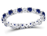 9/10 Carat (ctw) Natural Blue Sapphire Eternity Band Ring in 10K White Gold with Accent Diamonds