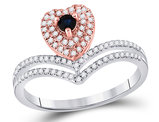 1/8 Carat (ctw) Blue Sapphire Heart Ring in 10K White and Pink Gold with Diamonds 1/4 Carat (ctw I-J, I2-I3)