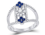 3/10 Carat (ctw) Natural Blue Sapphire Flower Ring in 14K White Gold with Diamonds 1/2 Carat (ctw)