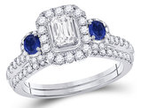 4/5 Carat (ctw G-H, I1-I2) Emerald-Cut Diamond Engagement Ring and Wedding Band Set in 14K White Gold with Blue Sapphires