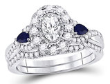 4/5 Carat (ctw G-H, I1-I2) Diamond Engagement Ring and Wedding Band Set in 14K White Gold with Blue Sapphires