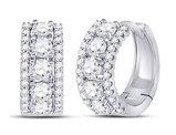 1.00 Carat (ctw H-I, I1-I2) Diamond Hoop Earrings in 14K White Gold