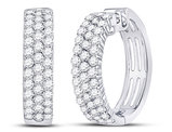 1.50 Carat (ctw I-J, I2-I3) Diamond Hoop Earrings in 10K White Gold