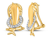 1/12 Carat (ctw J-K, I2-I3) Dolphin Earrings in 10K Yellow Gold with French Clips