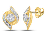 1/4 Carat (ctw H-I, I1-I2) Diamond Flower Cluster Button Earrings in 14K Yellow Gold