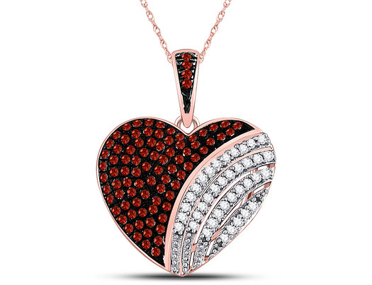1/3 Carat (ctw) Enhanced Red & White Diamond Heart Pendant Necklace in 10K Rose Pink Gold with Chain