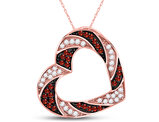 1/2 Carat (ctw) Red & White Diamond Open Heart Pendant Necklace in 10K Rose Pink Gold with Chain
