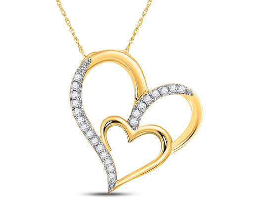 1/6 Carat (ctw) Diamond Double Heart Pendant Necklace in 10K Yellow Gold with Chain