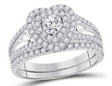 1.20 Carat (ctw H-I, I1-I2) Diamond Engagement Heart Ring Bridal Wedding Set in 14K White Gold