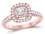 3/4 Carat (G-H, I1-I2) Princess-Cut Diamond Engagement Ring in 14K Rose Pink Gold
