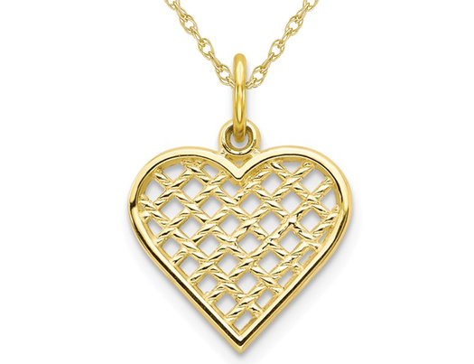 Weave Heart Pendant Necklace in 10K Yellow Gold with Chain
